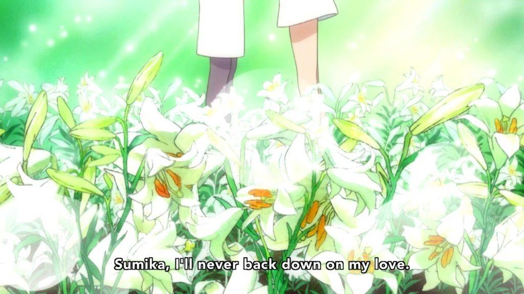 Lilies as a symbol of lesbian love in Yuri Kuma Arashi