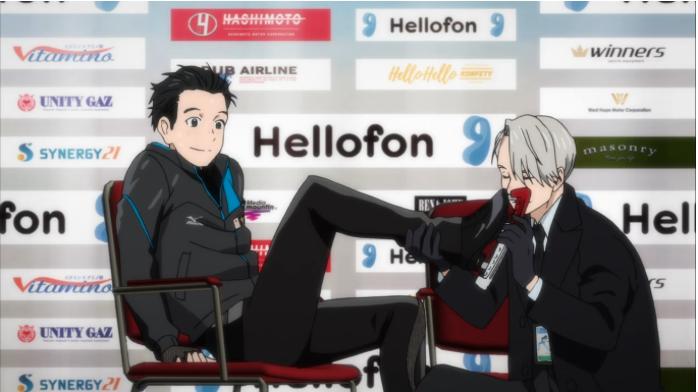 Victor kissing Yuri's skate